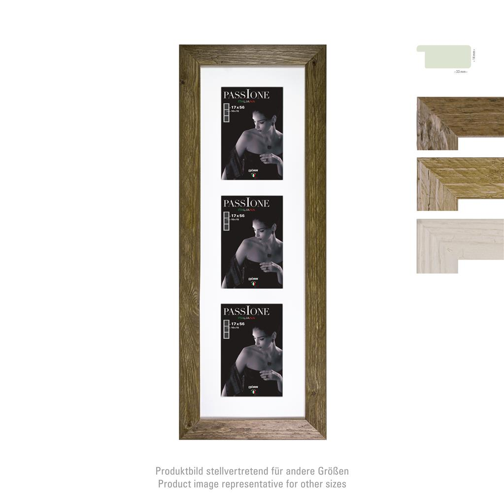 Driftwood wooden Frame 33mm triple 10x15 brown