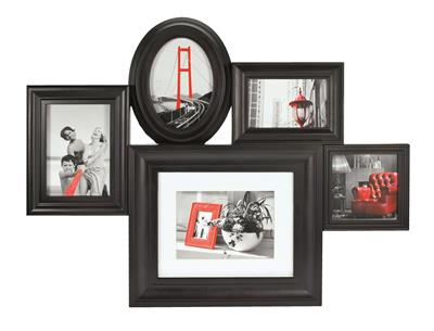 Family Plastic Frame for 5 pictures black